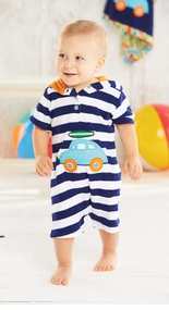 Mud Pie - Navy Striped Terry Car Romper - Sold Out