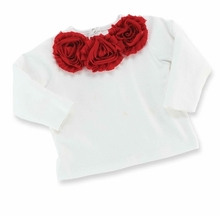Mud Pie Red Rosette Long Sleeved Girls White Top  FINAL SALE