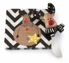Mud Pie Santa & Co Holiday 2 pc Napkin Set, Reindeer