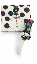 Mud Pie Santa & Co Holiday 2 pc Napkin Set, Snowman