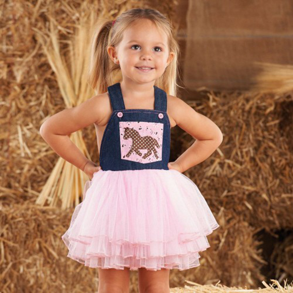 Mud Pie Toddler Cowgirl Overall Dress Out