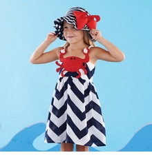 Mud Pie Toddler Girl's Chevron Navy Crab Dress - SOLD OUT