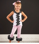 Mud Pie Toddler Girl's Ruffle Tunic and Capri Set