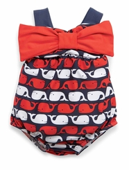 Mud Pie Toddler Girls Swimsuit :  Bow Whale Bubble