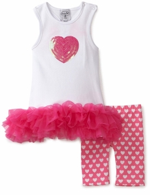 Mud Pie Valentine's Day Outfit Heart Tunic and Biker Short Set