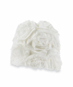 Mud Pie- White Chiffon Rosette Cap - SOLD OUT