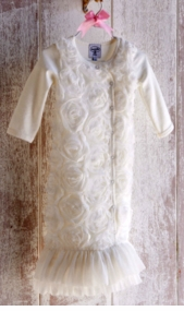 Mud Pie - White Chiffon Rosette Gown - sold out