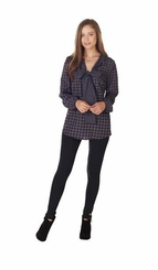 Mud Pie Women's Belle Bow Gray/Black Houndstooth Tunic