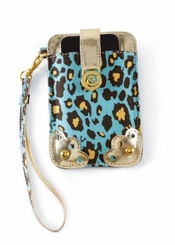 Mud Pie Wristlet Leopard Lagoon Cell Phone Carrying Case for Iphone, Blackberry and PDA
