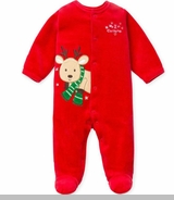 My 1st Christmas Reindeer Velour Coverall