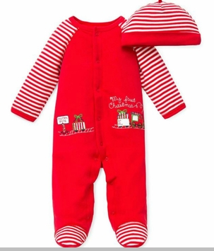 My 1st Christmas Train Footie and Striped Hat - sold out
