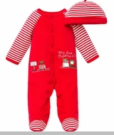 My 1st Christmas Train Footie and Striped Hat - Out of Stock