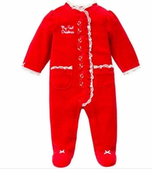 My First Christmas Red Velour and Lace Footie