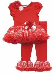 My Little Valentine - Red/ White Flower Tutu Legging Set SALE