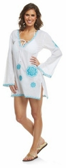 Natural Beauty Blue Embroidered Paisley Tunic by Mud Pie