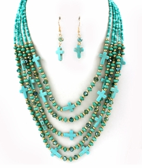 Natural Stone Multi Layer Bead Necklace Set