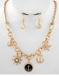 Nautical Gold Anchor Charm Necklace and Earring Set