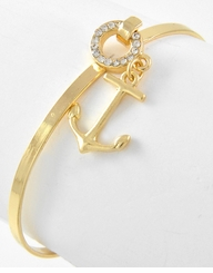 Nautical Jewelry - Gold Plated Anchor Charm Bracelet