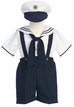 Lito Baby Boys Navy Boys Sailor Suit Shortall with Hat