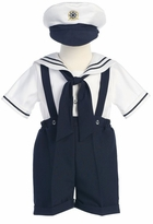 Navy Boys Sailor Suit Shortall with Hat