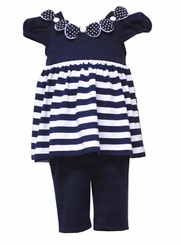 Navy Dot Bows & Stripes Capri Set - SALE