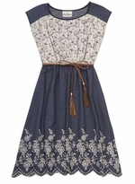 Chambray Lace Floral Embroidered Spring Dress