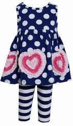 Navy Polka Dot Triple Heart Applique Stripe Legging Set FINAL SALE