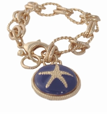 Navy Starfish Gold Bracelet - Lobster Claw Clasp