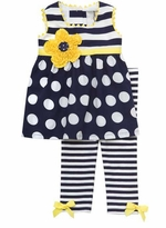 Navy Stripe And Dot Yellow Trim Legging Set