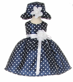 Navy Taffeta  Dot Baby Easter Dress with Matching Hat  - sold out