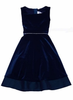 Navy Velvet Sleeveless Dress - Special Occasion Dress