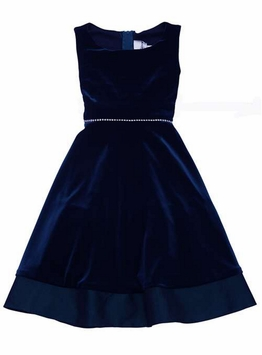 Navy Velvet Sleeveless Dress - Special Occasion Dress - SOLD OUT