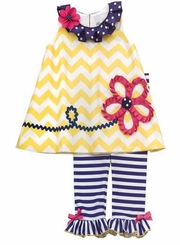 Navy Yellow Chevron Knit Top Legging Set 6 months