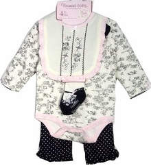 Newborn Baby Girls Black & Cream Toile Gift Set - 4 pcs 9 months LAST ONE