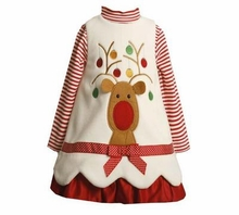 Newborn Baby Girls  Christmas Dresses - Ivory Reindeer - SOLD OUT