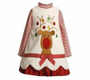 Newborn Baby Girls  Christmas Dresses - Ivory Reindeer SIZE 3-6 month