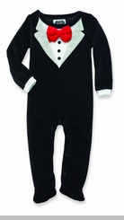 Newborn Boys Black Velour Tuxedo - sold out