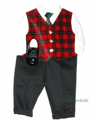 Newborn Boys Holiday Plaid Velvet Vest Set with Shoes - SOLD OUT