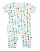 Newborn Boys Short Sleeve Unionsuit - Nantucket Whales