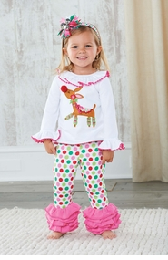 Mud Pie Baby Girls Pink Christmas Reindeer Legging Set  CLEARANCE