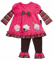Newborn Girls Outfits : Baby Cupcake Pants Set - FINAL SALE