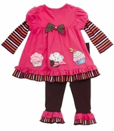 Infant Girls Outfits : Baby Girls  Fuchsia Cupcake Applique Legging Set