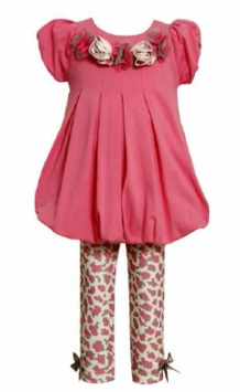 Newborn Infant Pink Knit Bubble Top with Print Leggings CLEARANCE
