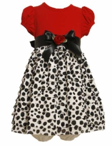 Newborn Infant Red Bodice Eyelash Dot Special Occasion Dress