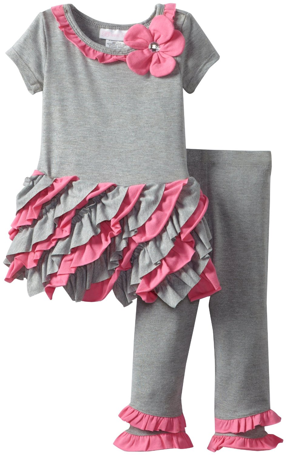 Newborn Infant Toddler Girl's Pink Ruffled Legging Set
