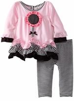 Newborn or Infant Girl's: Pink Knit Legging Set w/Flower Applique