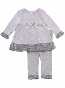 Silver Sparkle Knit Holiday Dressy Newborn or Infant Girls Outfit