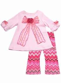 Newborn or Toddler  Girls Clothes Fall Couture - Fuchsia Zig Zig Bow Tunic Set  - SOLD OUT