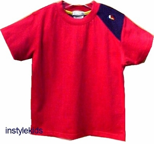 One Kid Boys Clothes- Red Triangle Jersey Tee - FINAL SALE