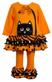 Bonnie Jean Orange Cat Face Tiered Dot Striped Tunic Set